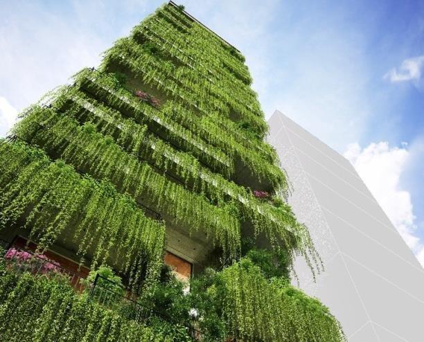 تصاویر طرح اولیه برج 72 متری پوشیده از گیاهان